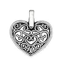 Подвеска Сердце, Цинковый сплав, Античное серебро, Полая, 16 мм x 15 мм