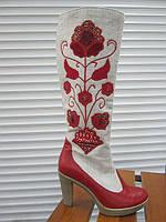 """Обувь из конопли. Сапоги женские «Ладни» с аппликацией """"Древо 2"""""""