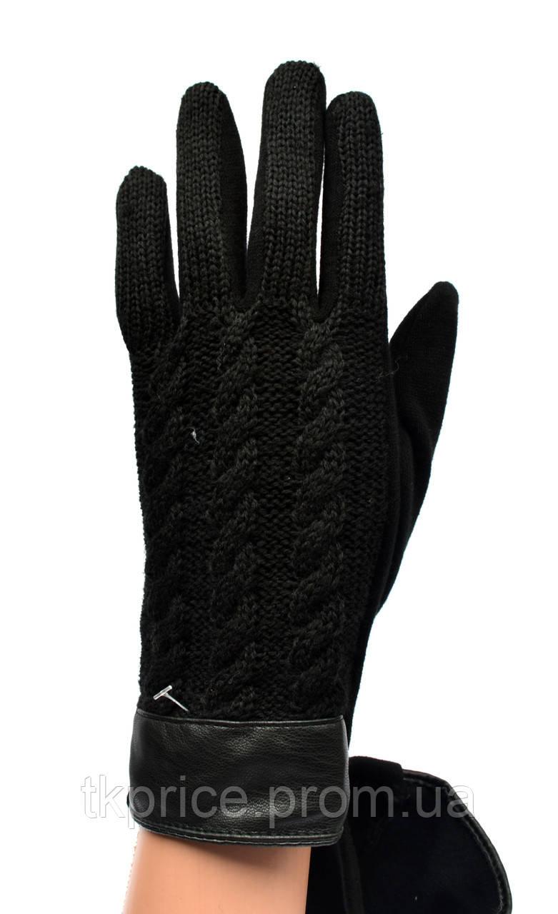 Женские трикотажные  перчатки с вязаным верхом и сенсорными пальчиками на флисовой подкладке