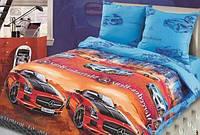 Ткань для детского постельного белья, поплин Фаворит, компаньон синяя ткань