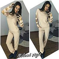 Костюм женский стильный из ангоры свитшот с вырезами на рукавах и брюки 4 цвета Dmil702