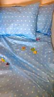 Ткань для постельного белья, ранфорс (хлопок) Звезды белые на голубом