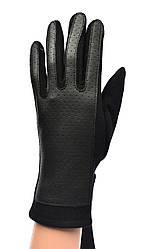 Женские трикотажные  перчатки с кожзамом  и сенсорными пальчиками на флисовой подкладке