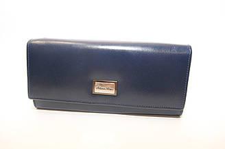Женский синий кожаный кошелек Silver Rose