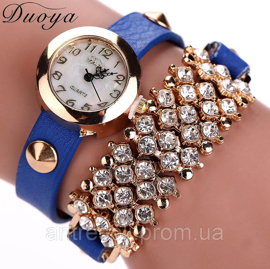 Наручные часы женские с синим ремешком код 99