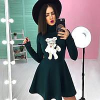 Платье стильное короткое с пышной юбкой и принтом -нашивкой разные цвета 6SMb1849