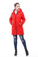 Удлиненная красная зимняя куртка на молнии, двойная защита от холода, зима 2018 , размеры 46-58