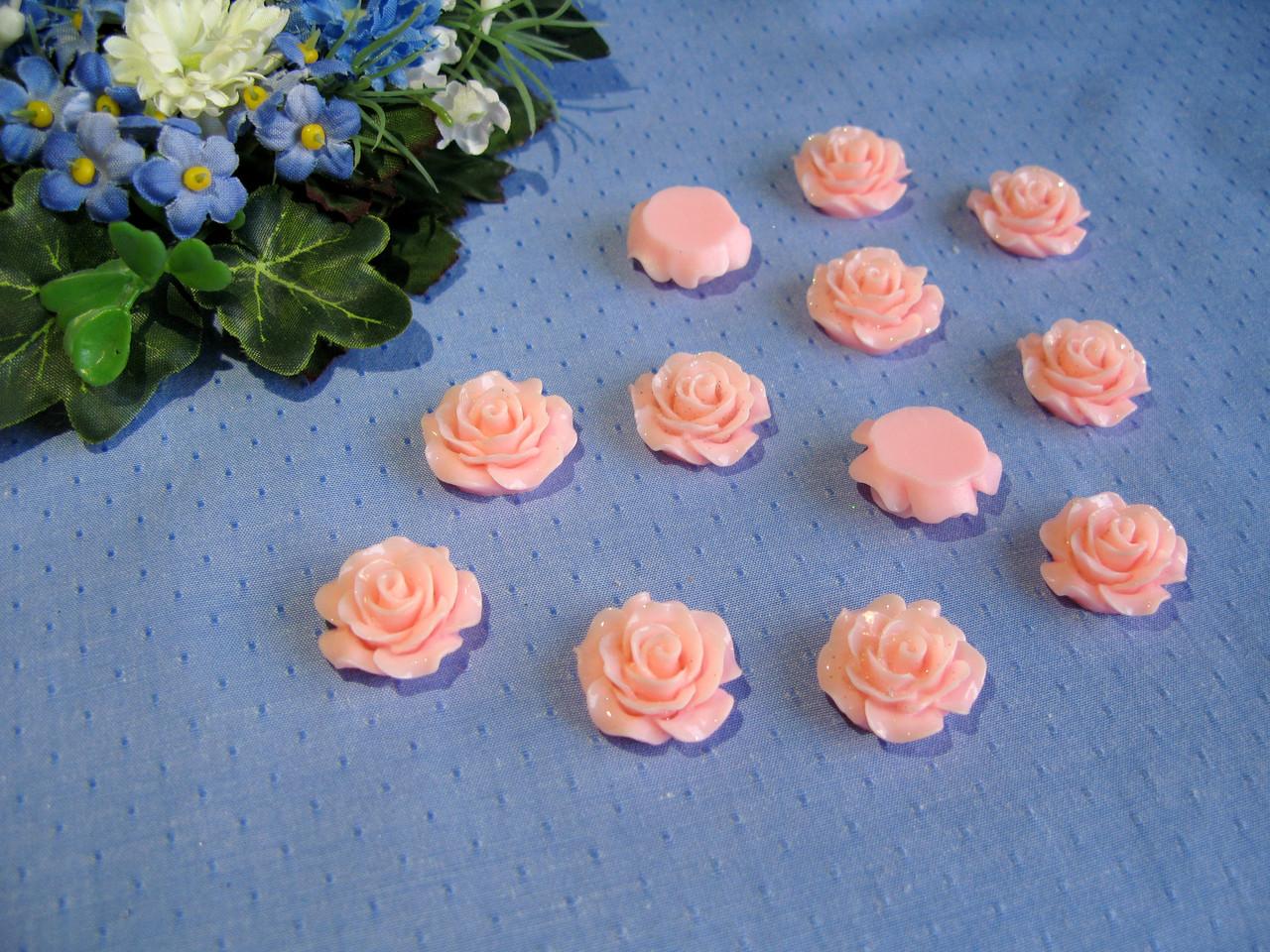Серединка акриловая - Роза лаковая большая, цвет персиково-розовый  р-р - 2 см цена 20 грн - 10 шт