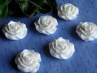 Серединка акриловая - Белая роза большая лаковая р-р - 2 см цена 20 грн - 10 шт, фото 1