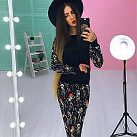 Костюм женский модный свитшот и юбка миди в модный принт дайвинг Kb577