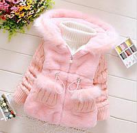 Детская куртка из искусственного меха для девочки с вязаными рукавами