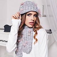 Комплект: утепленная шапка и шарф с декором - бант