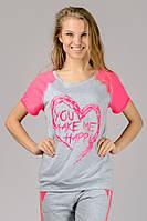 Футболка женская молодежная современная серая розовая принт Сердце трикотажная вискоза (Украина)