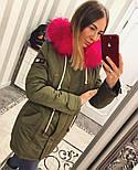 Зимняя женская стильная парка с мехом и капюшоном (6 цветов), фото 3