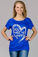 Молодежная футболка женская летняя синяя принт Сердце трикотажная вискоза (Украина)