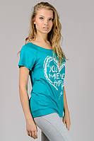 Стильная футболка женская летняя бирюзовая принт Сердце трикотажная вискоза (Украина)