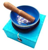 Чаша поющая с резонатором в коробке, голубая (8,5)