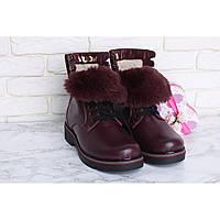 Женские зимние кожаные ботинки бордового цвета на шнуровке с языкчком из меха Астра-18