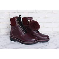 Зимние женские ботинки с мехом бордовые