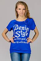 Синяя женская футболка летняя модная с принтом трикотажная вискоза (Украина)