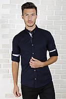 Рубашка приталенная тёмно-синяя 06-3, фото 1