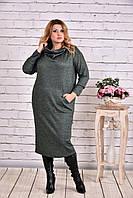 Зеленое платье миди для полных женщин 0624