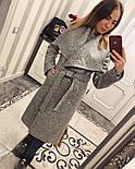 Женское модное зимнее пальто букле с поясом на запах , фото 2