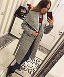 Женское модное зимнее пальто букле с поясом на запах , фото 3