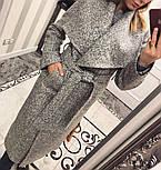 Женское модное зимнее пальто букле с поясом на запах , фото 4