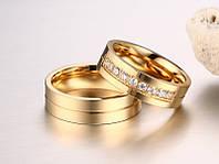 Шикарное обручальное кольцо из нерж.стали 316L - алмазная дорожка!