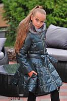 Зимнее дутое пальто для девочки