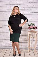 Стильное платье больших размеров 0625 зеленое
