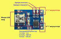 TP4056 Модуль заряда Li-ion аккумуляторов, Mini USB акб