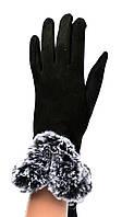 Женские замшевые перчатки с мехом и сенсорными пальчиками на флисовой подкладке