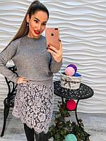 Женский стильный свитер-туника с кружевом (2 цвета), фото 1