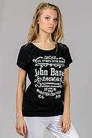 Черная женская футболка летняя с принтом рукав реглан трикотажная вискоза (Украина)