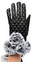 Женские перчатки с мехом и сенсорными пальчиками на флисовой подкладке