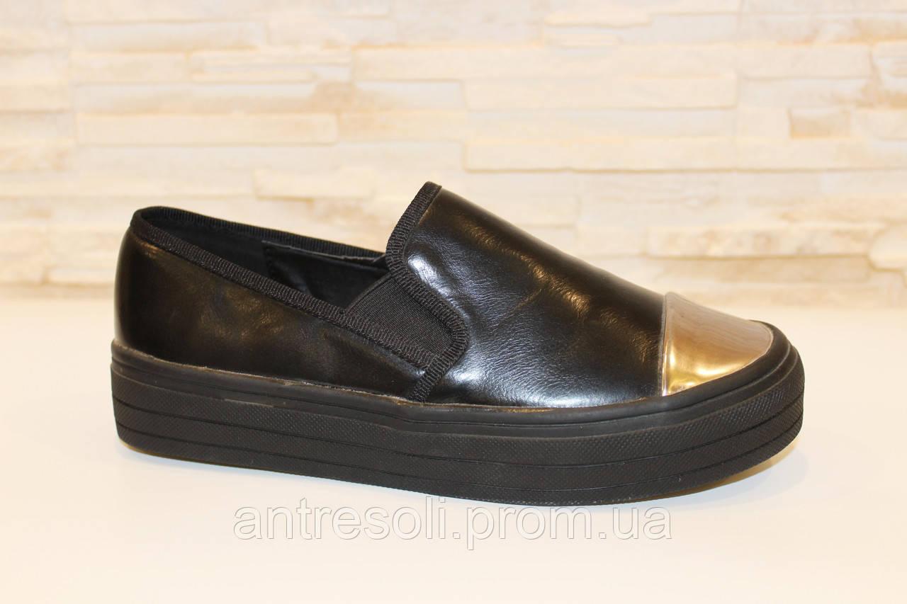 Слипоны черные женские серебристый носок Т428 р 36 УЦЕНКА