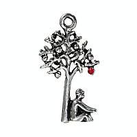 Подвеска Дерево, Яблоко, Ньютон, Цинковый сплав, Античное серебро, Красное яблоко с эмалью, 25 мм x 14 мм