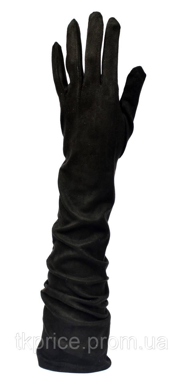 Длинные женские перчатки на флисовой подкладке из эко замша,длина перчаток около 47 см