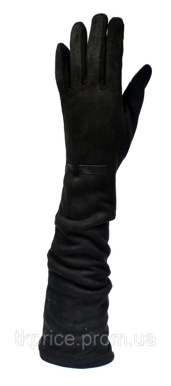 Длинные женские перчатки с сенсорными пальчиками, длина перчаток около 45см