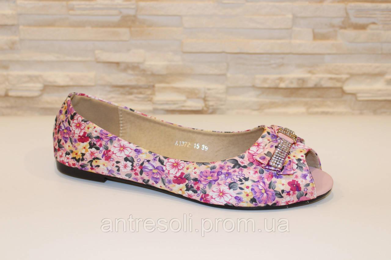 Балетки летние женские розовые с цветами Т362 р 39
