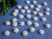 Серединка акриловая - Белая роза малышка р-р - 9 мм цена 7.5 грн - 10 шт
