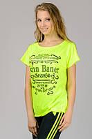 Яркая женская футболка летняя желтая лимонная с принтом рукав летучая мышь трикотажная вискоза (Украина)