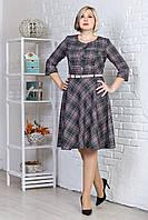 Женское платье в клетку с расклешенной юбкой, серое