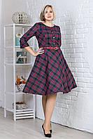 Женское платье в клетку с расклешенной юбкой, красное