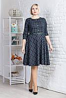 Женское платье в клетку с расклешенной юбкой, бутылочный