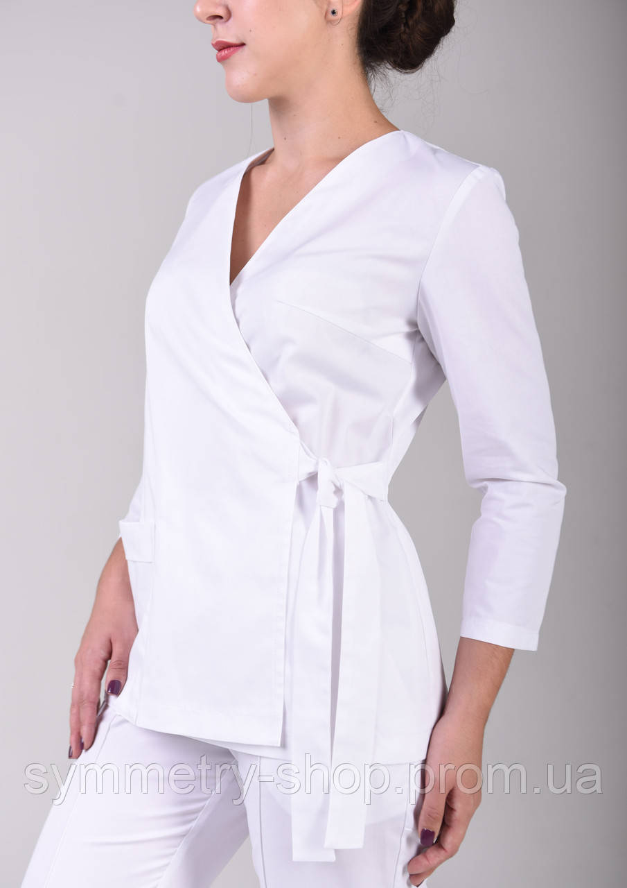 Блуза на запах Т005, белая, фото 1