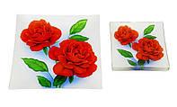 Набор тарелок Royal Set красные розы на черном 1=6 предметов
