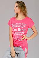 Яркая розовая женская футболка летняя с принтом рукав летучая мышь трикотажная вискоза (Украина)